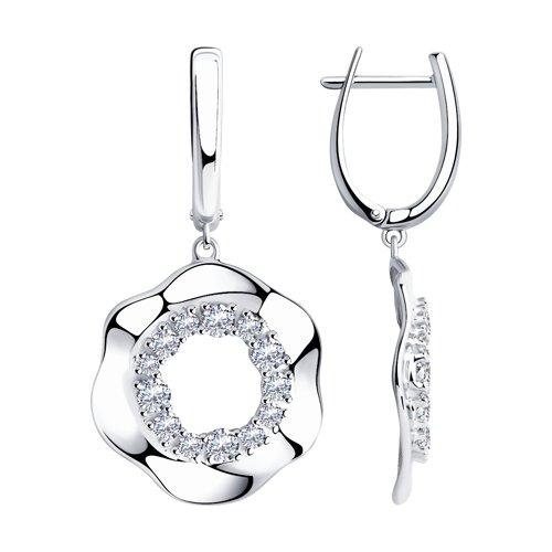 Серьги из серебра с фианитами (94023684) - фото