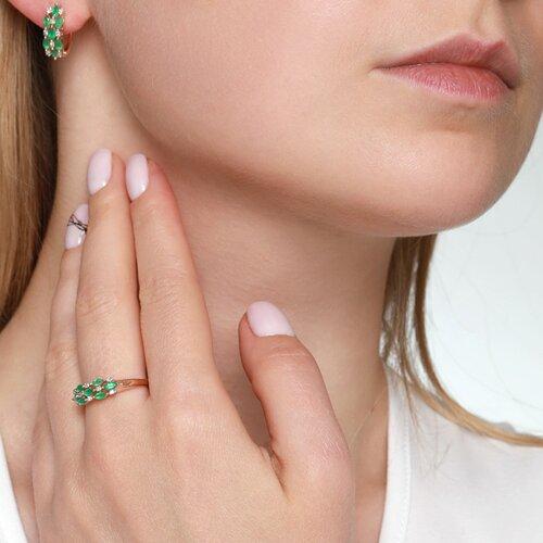 Кольцо из золота с бриллиантами и изумрудами (3010090) - фото №3
