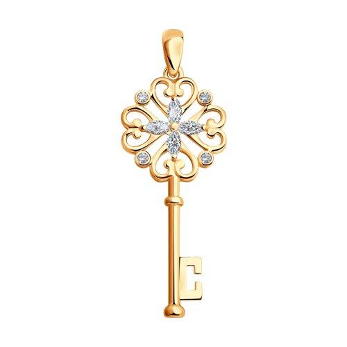 Подвеска «Ключ» из золочёного серебра с фианитами (93030292) - фото