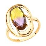 Кольцо из золота с ситаллом аметрин