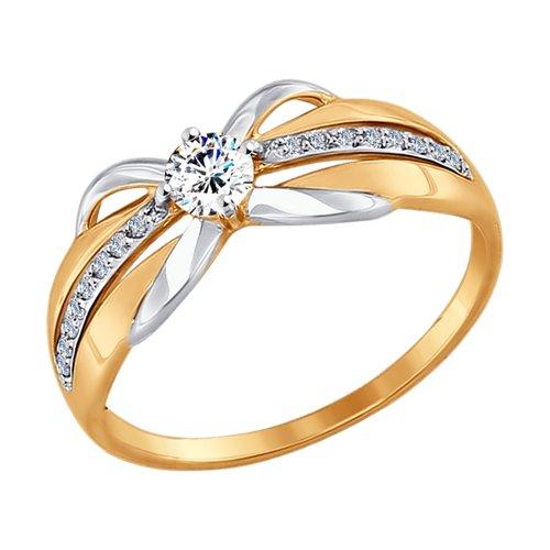 Кольцо из золота с фианитами (017450) - фото