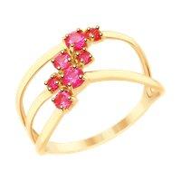 Кольцо из золота с красными корунд (синт.)