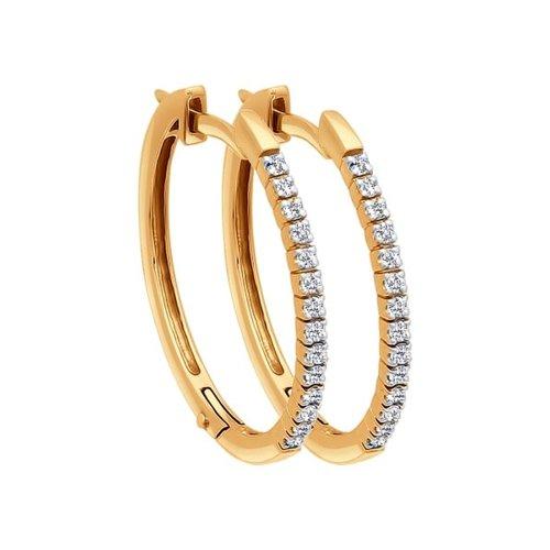 Серьги конго из золота с бриллиантами