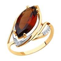 Кольцо из золота с ситалом синтетическим и фианитами