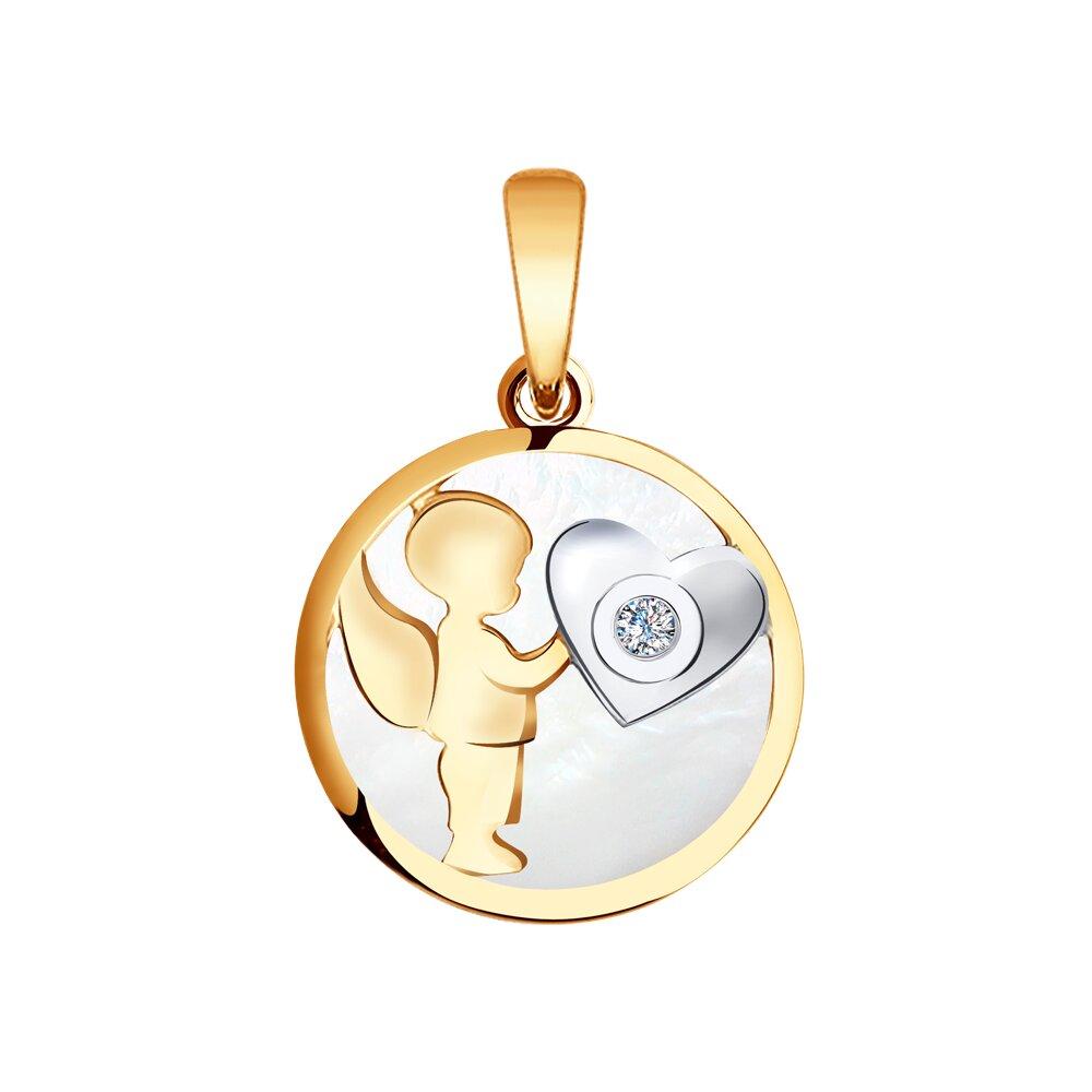 Подвеска «Ангел» SOKOLOV из золота с бриллиантом и перламутром