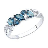 Кольцо из серебра с синими топазами и фианитами