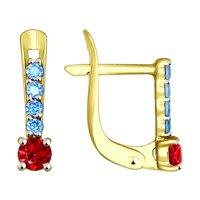 Серьги из желтого золота с голубыми и красными фианитами