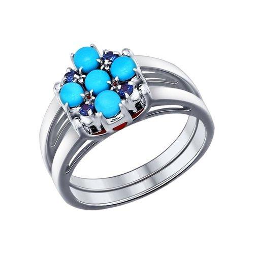 Кольцо из серебра с бирюзой (синт.), кораллами, синими и красными фианитами
