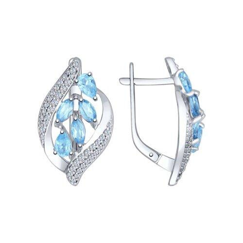 Серьги из серебра с голубыми топазами и фианитами (92021509) - фото