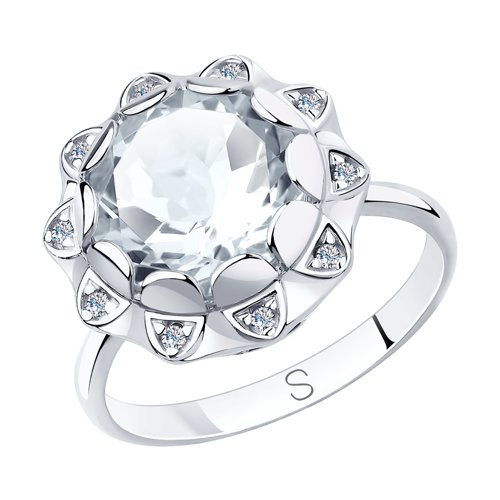 Кольцо из серебра с горным хрусталем и фианитами