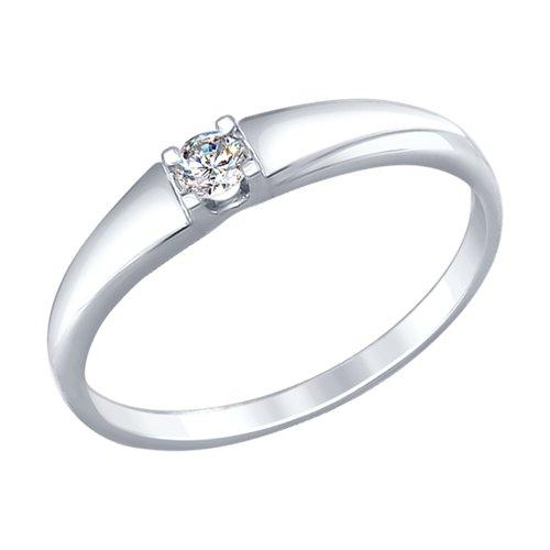 Кольцо из белого золота с бриллиантом (1011611) - фото
