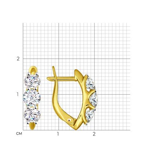 Серьги из желтого золота с фианитами (027115-2) - фото №2