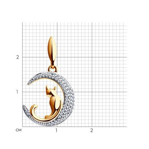 Подвеска «Кошечка на луне» из золота с фианитами (034577) - фото №2
