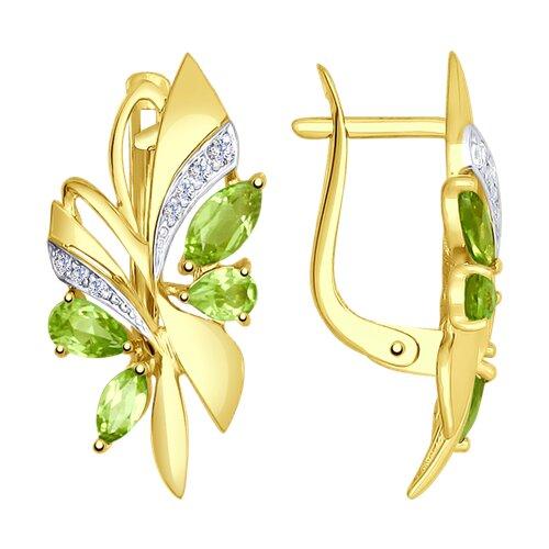 Серьги из желтого золота с хризолитами и фианитами