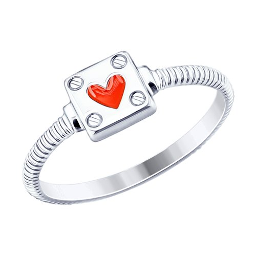 Кольцо из серебра с эмалью (94012710) - фото