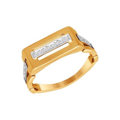 Печатка из комбинированного золота с фианитами
