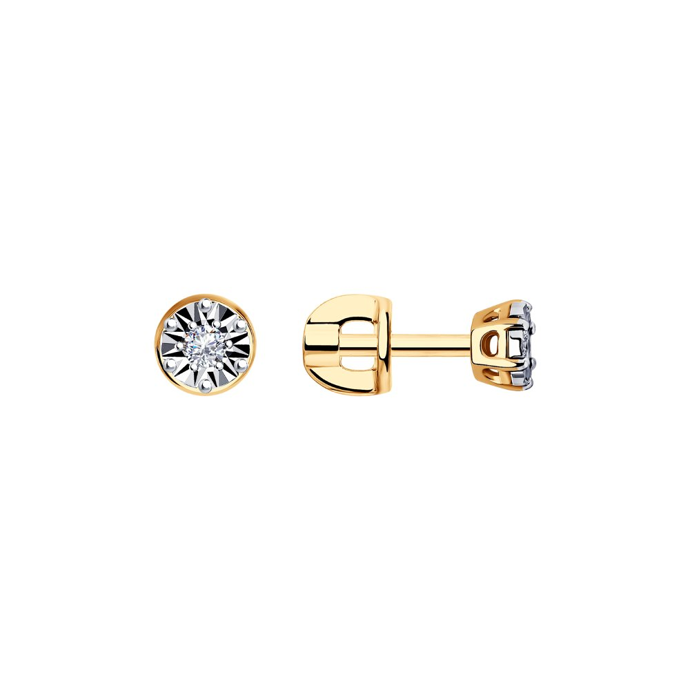 Серьги-гвоздики SOKOLOV из комбинированного золота