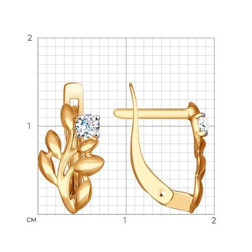 Серьги из золота с фианитами (027255) - фото №2