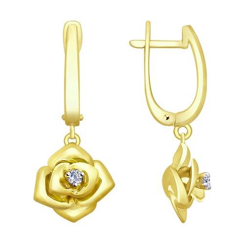 Серьги из комбинированного золота с бриллиантами (1021199-2) - фото