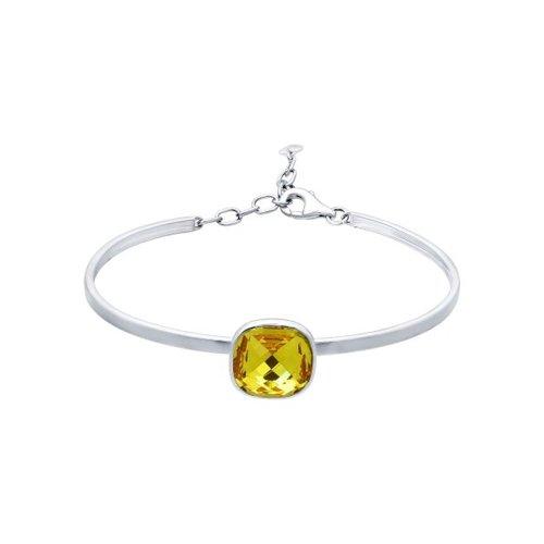 Браслет жёсткий из серебра с жёлтым кристаллом swarovski