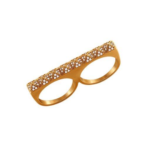 цена Стильное кольцо на два пальца SOKOLOV