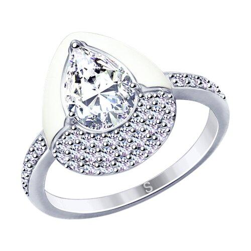Кольцо из серебра с эмалью и фианитами (94012727) - фото