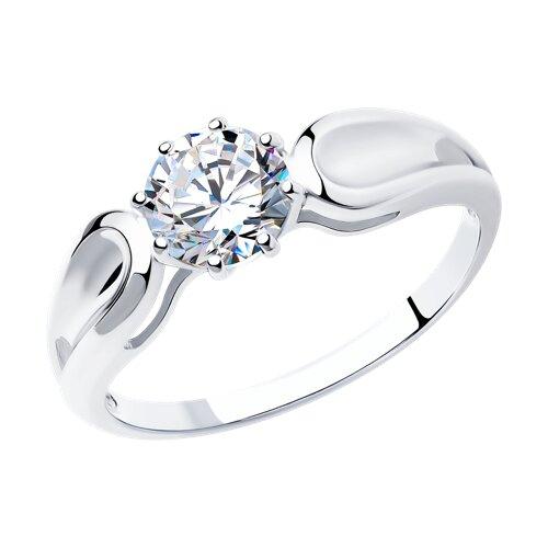 Кольцо из серебра с фианитом (94012115) - фото