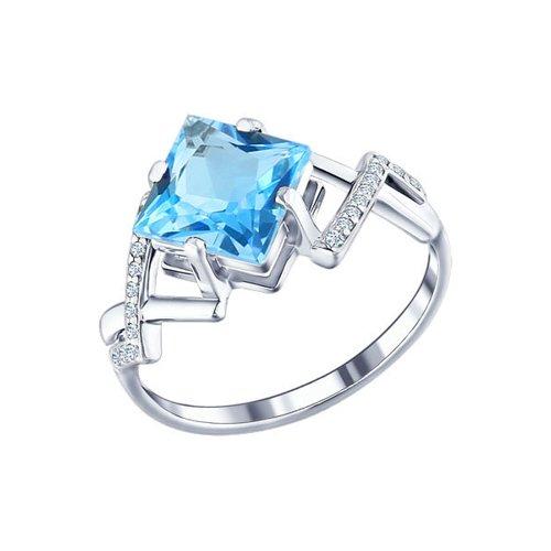 Серебряное кольцо с топазом (92010075) - фото