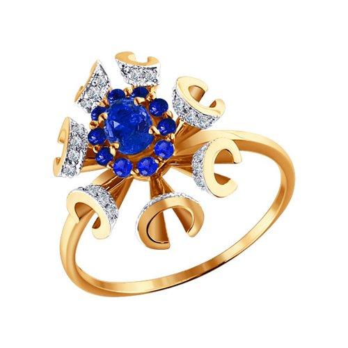 Красивое вечернее кольцо в форме цветка SOKOLOV