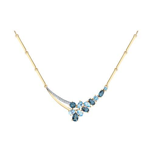 Колье из золота с голубыми и синими топазами и фианитами (770175) - фото