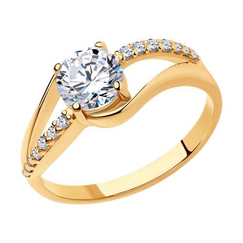 Кольцо из золочёного серебра с фианитами (93010242) - фото