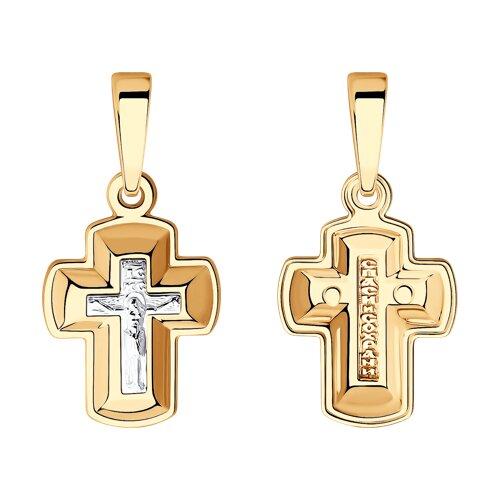 Подвеска- крест из комбинированного золота 121437 sokolov фото