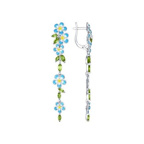 Серьги длинные из серебра с эмалью с хризолитами и жёлтыми фианитами