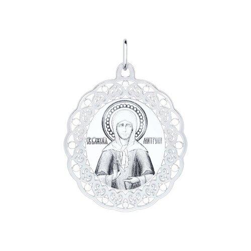 Серебряная нательная иконка с ликом Матроны Московской