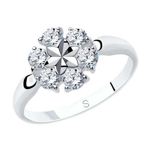 Кольцо из серебра с алмазной гранью с фианитами (94012976) - фото