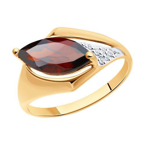 Кольцо из золота с гранатом и фианитами (714851) - фото