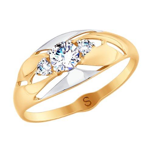 Кольцо из золота с фианитами (017949) - фото