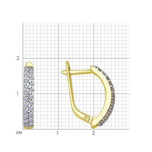 Серьги из желтого золота с фианитами (025673-2) - фото №2