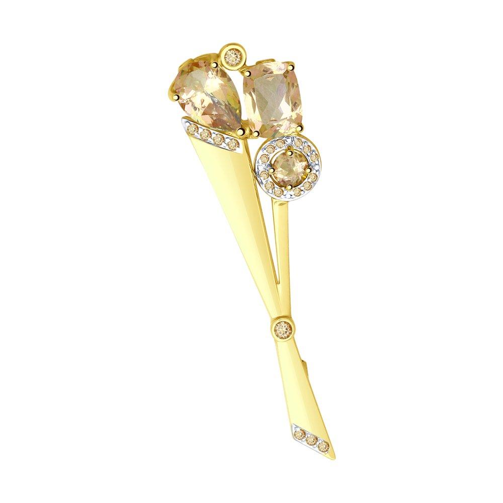 Брошь SOKOLOV из желтого золота с розовыми топазами Swarovski и жёлтыми Swarovski Zirconia недорого