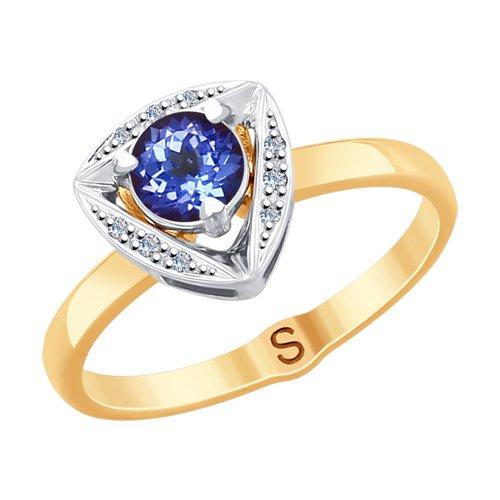 Кольцо из комбинированного золота с бриллиантами (6014104) - фото