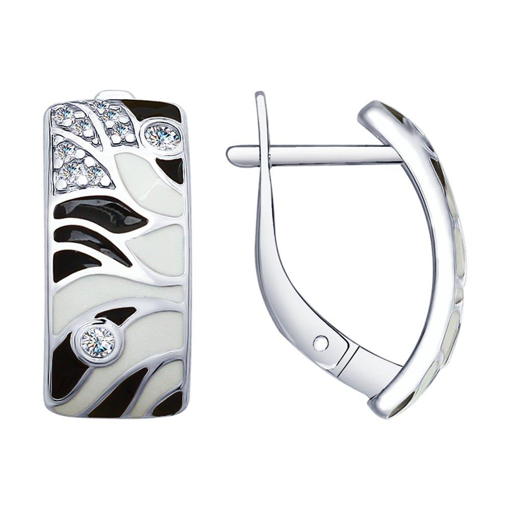 Серьги SOKOLOV из серебра с эмалью и фианитами серьги с фианитами и эмалью из серебра valtera 79534