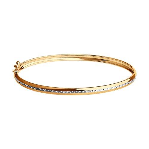 Золотой жесткий браслет с алмазной гранью