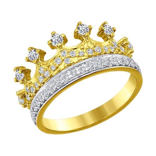 Кольцо из желтого золота с фианитами (016630-2) - фото