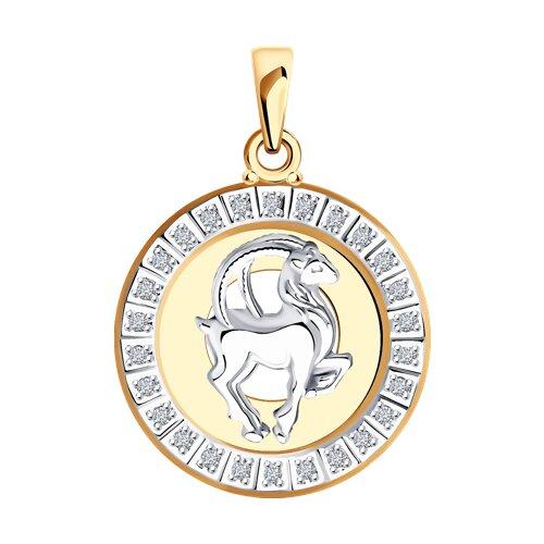 Подвеска Козерог из комбинированного золота с фианитами