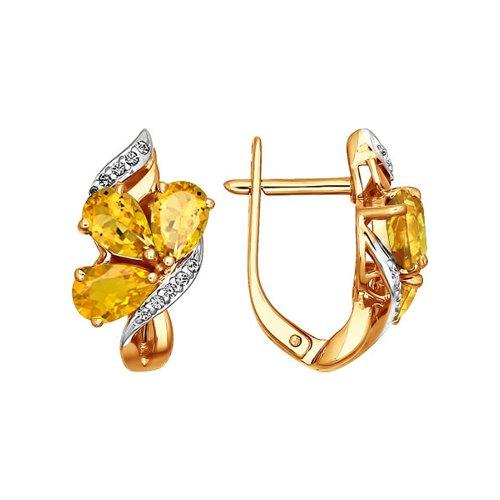 Серьги SOKOLOV из золота с фианитами и цитринами серьги sokolov из желтого золота с цитринами