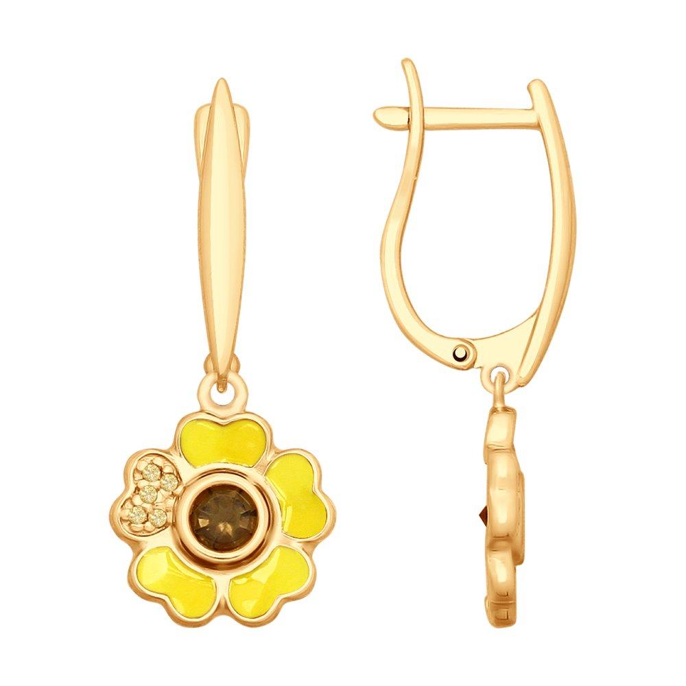 Серьги «Цветок» SOKOLOV из золочёного серебра серьги золотой цветок beatrici lux серьги золотой цветок