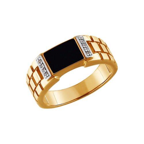 Печатка из золота с эмалью с фианитами