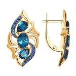 Серьги из золота с синими топазами и синими фианитами