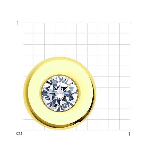 Подвеска из желтого золота с фианитом 034772-2 SOKOLOV фото 2