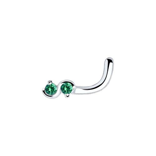 Пирсинг в нос бесконечность из серебра с зелеными фианитами (94060032) - фото